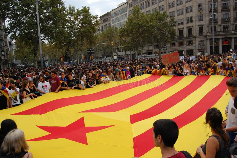 Protests for Catalan Indipendence. Catalonia Referendum: people prostesting in the streets of Barcelona. October 2017. Protesting in Catalonia. People occupied royalty free stock photo