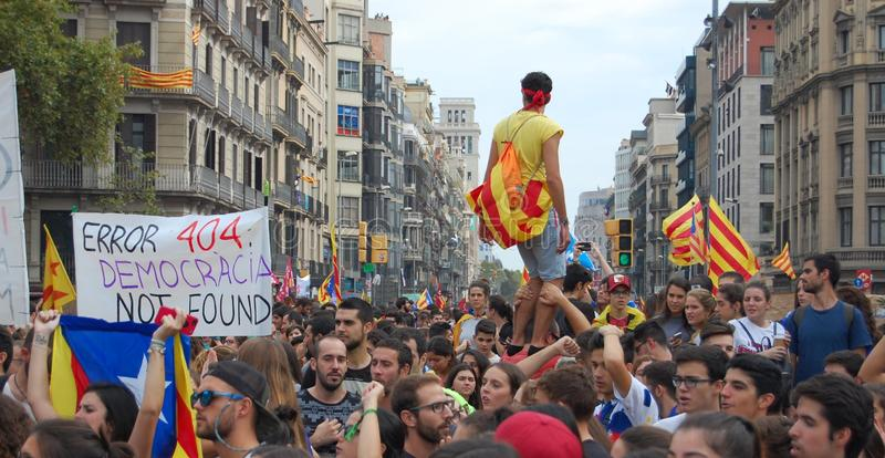 Protests for Catalan Indipendence. Catalonia Referendum: people prostesting in the streets of Barcelona. October 2017. Protesting in Catalonia. People occupied stock images