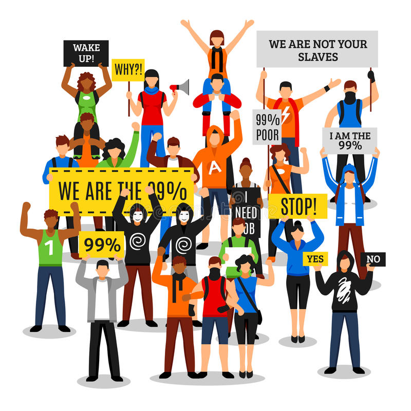 Protesting Crowd Faceless Composition. Composition of protesting crowd with colorful people characters faceless rioters holding various placards with editable vector illustration