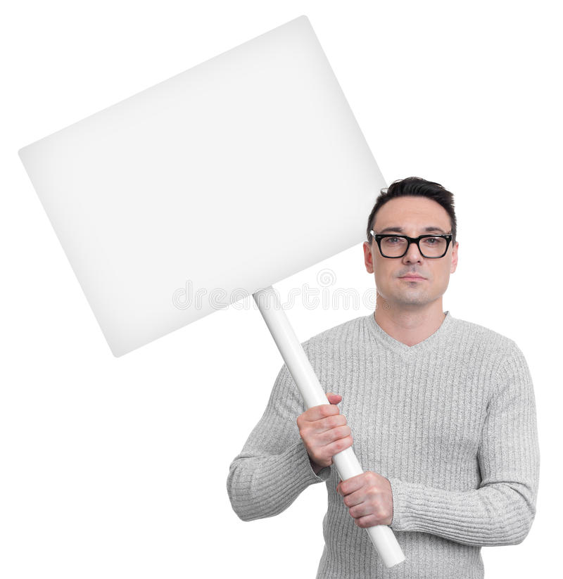 Protesting person with picket sign. Isolated on white background stock images