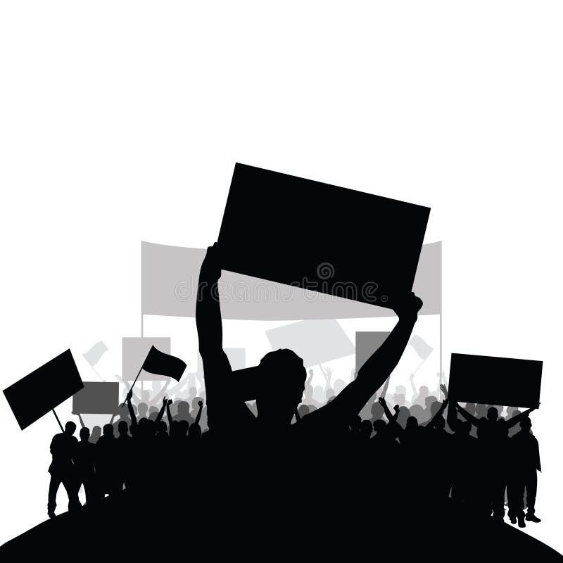 Protestleute silhouettieren Vektor mit Gruppe im hinteren Satz zwei stockbilder
