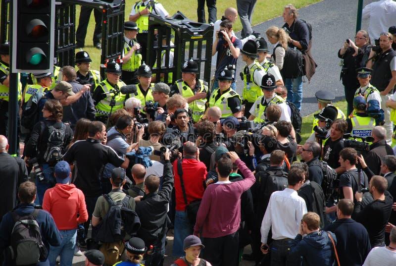 Protesto 28/08/10 de Bradford EDL foto de stock