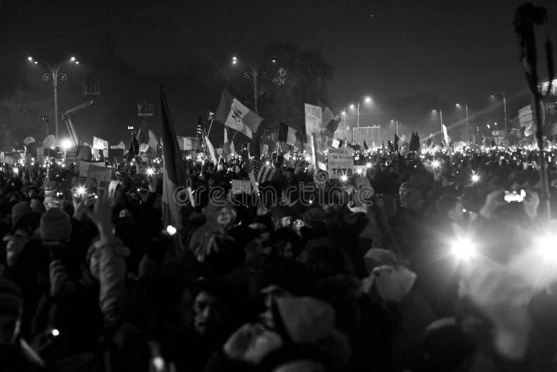 Protesto contra reformas da corrupção em Bucareste imagens de stock