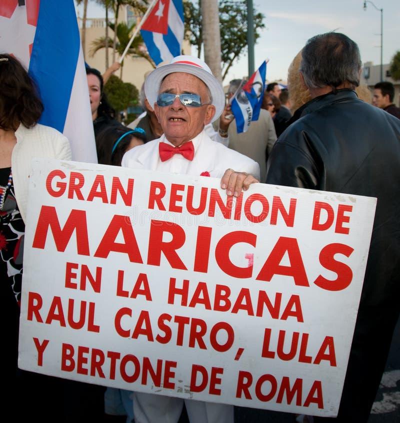 Protesto cubano dos disidents de Miami foto de stock