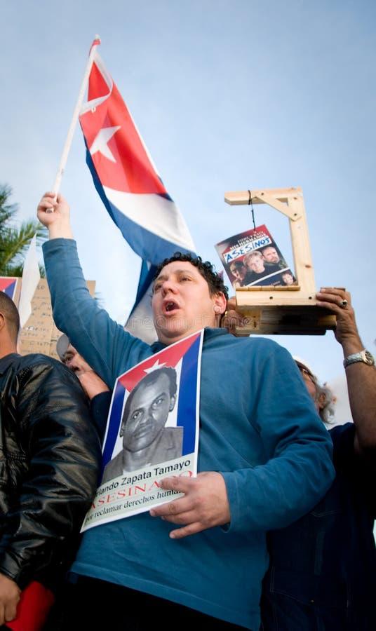 Protesto cubano dos disidents de Miami fotografia de stock