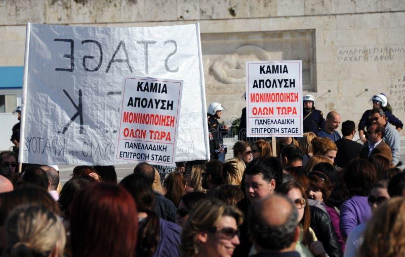 Protesto da juventude em Atenas fotografia de stock