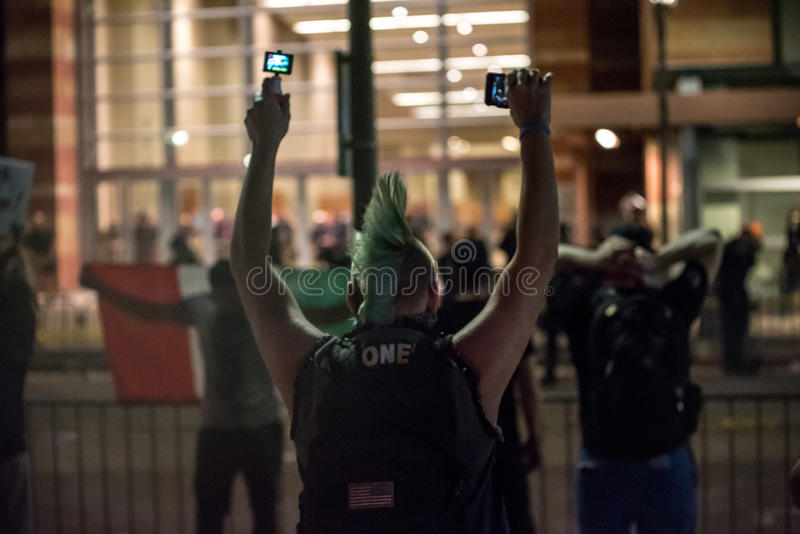 Protesto da reunião do trunfo de Phoenix fotos de stock royalty free