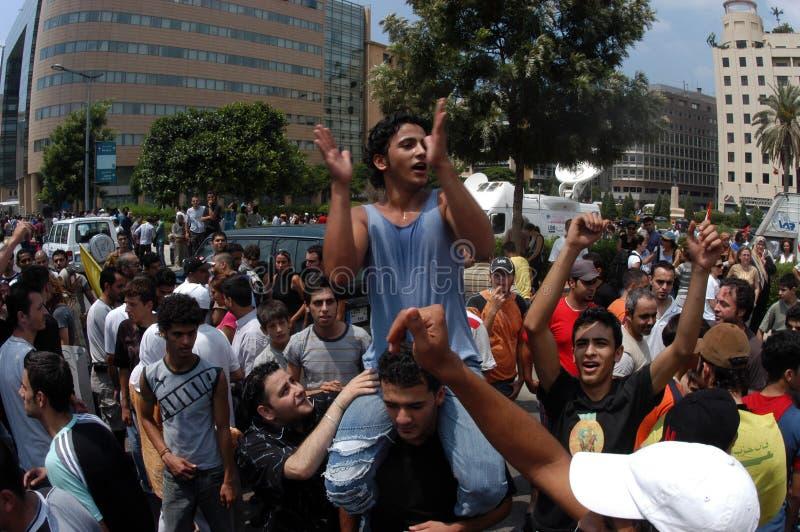 Protesto de Anti-Israel em Beirute imagem de stock royalty free