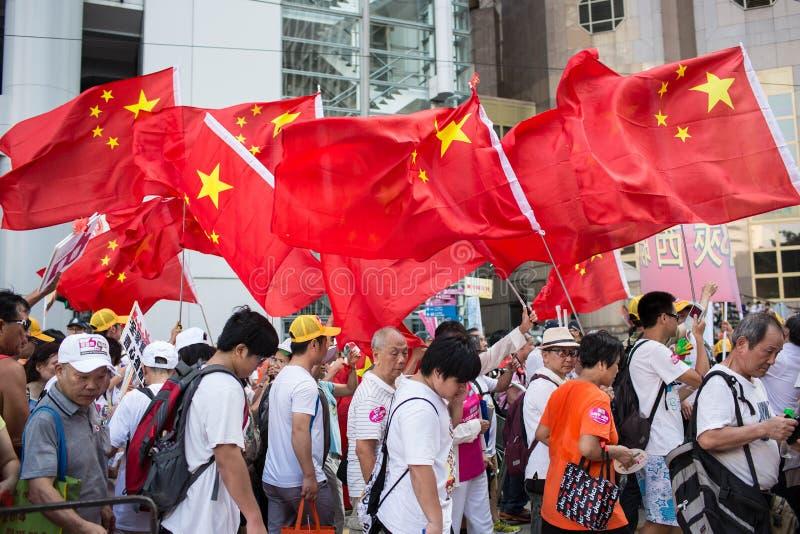 Protesto de Hong Kong Oppose Occupy Central fotografia de stock
