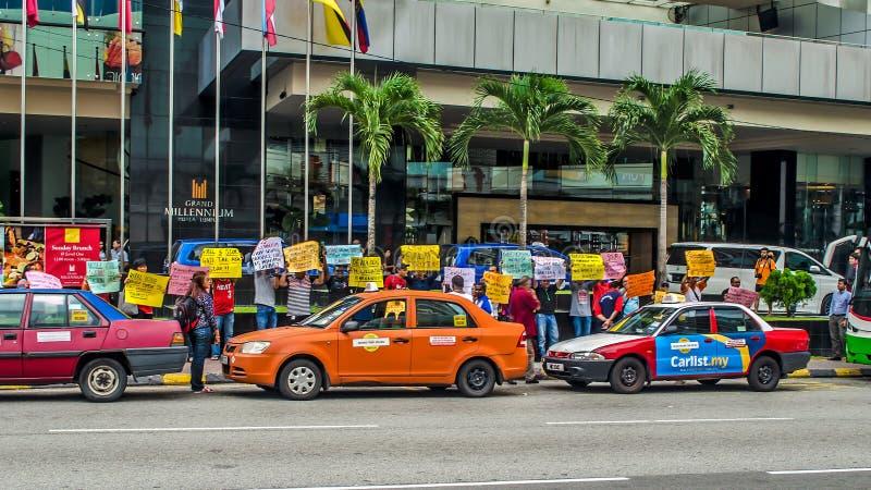 Protesto de Kuala Lumpur Employees grande do milênio ' imagens de stock