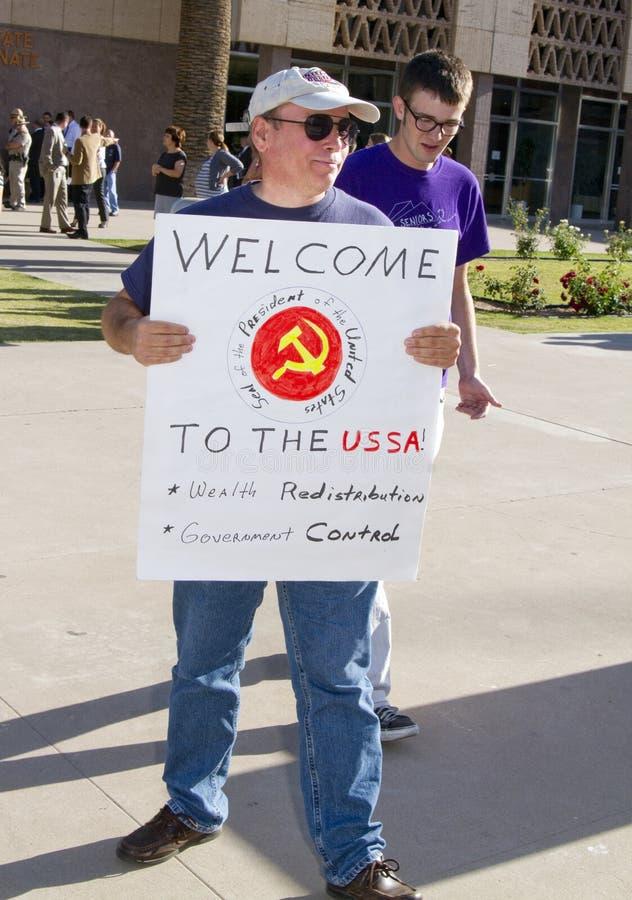 Protesto de Obama o Arizona imagens de stock