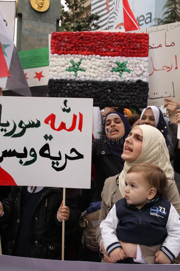 Protesto de Syria fotos de stock