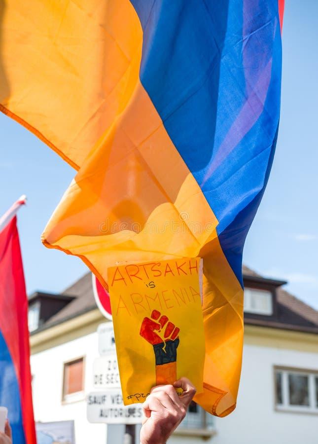 Protesto do conflito de Azerbaijão Armênia imagem de stock royalty free
