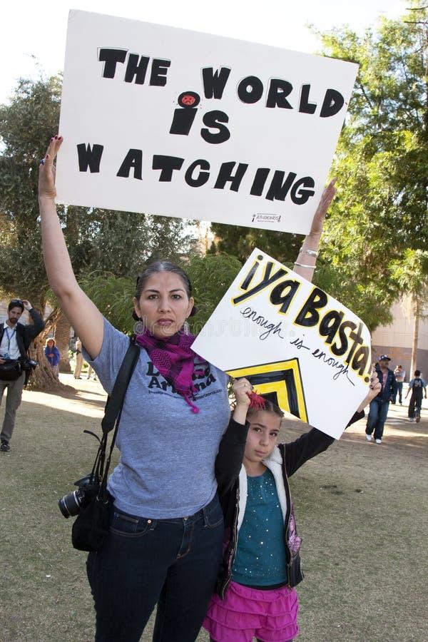 Protesto do SB 1070 da lei da imigração do Arizona imagem de stock