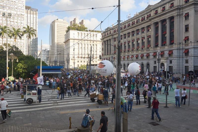 Protesto dos professores contra a reforma da segurança social imagens de stock