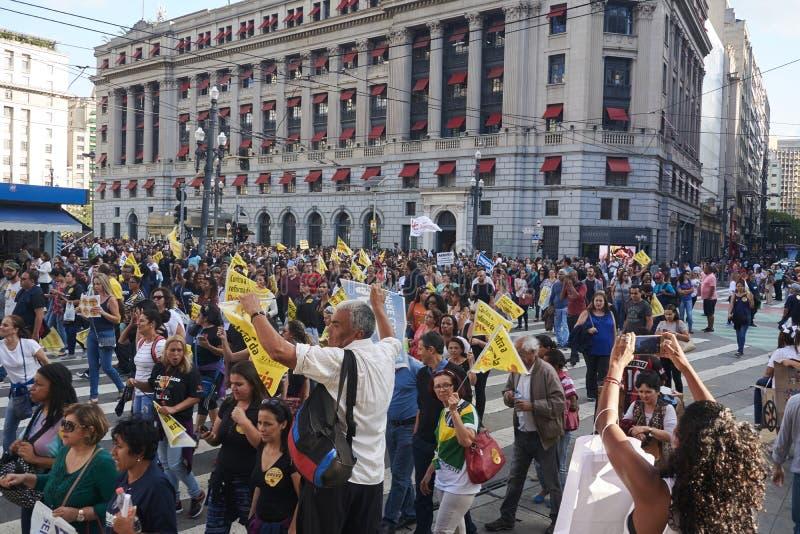 Protesto dos professores contra a reforma da segurança social imagem de stock