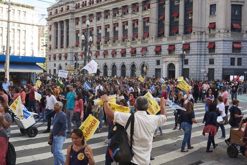Protesto dos professores contra a reforma da segurança social fotografia de stock