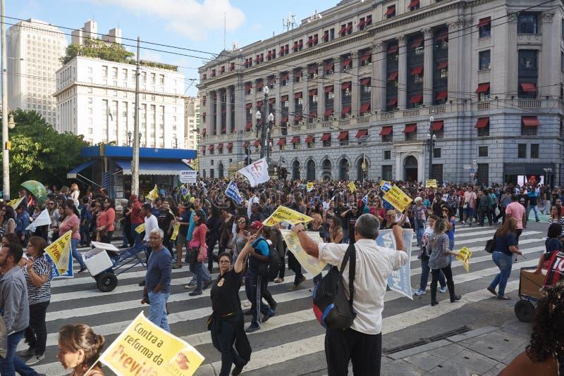 Protesto dos professores contra a reforma da segurança social imagem de stock royalty free