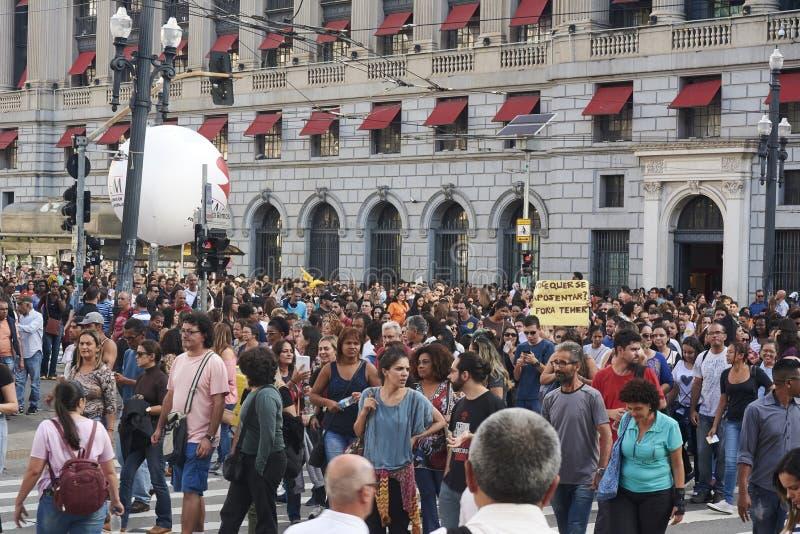 Protesto dos professores contra a reforma da segurança social fotografia de stock royalty free