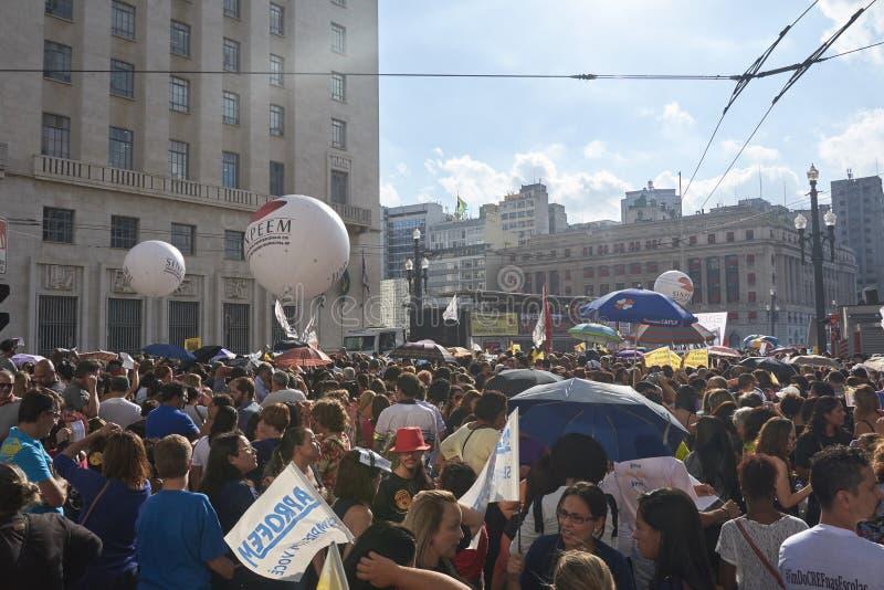 Protesto dos professores contra a reforma da segurança social Sao Paulo, Brasil imagem de stock royalty free