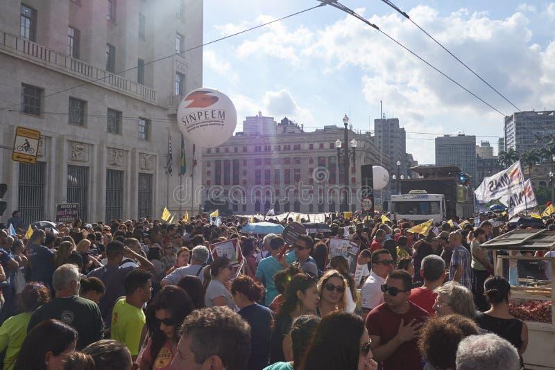 Protesto dos professores contra a reforma da segurança social Sao Paulo, Brasil foto de stock royalty free