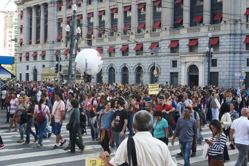 Protesto dos professores contra a reforma da segurança social Sao Paulo, Brasil fotografia de stock