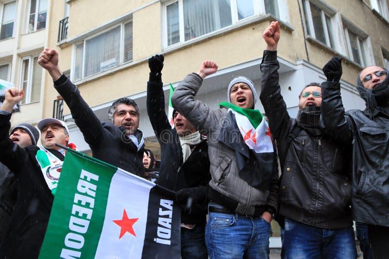 Protesto dos sírios em Istambul foto de stock royalty free