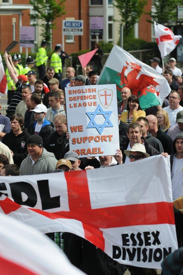 Protesto inglês da liga da defesa fotos de stock
