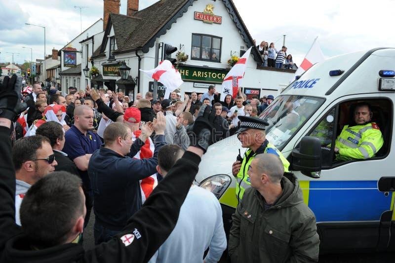 Protesto inglês da liga da defesa fotografia de stock royalty free