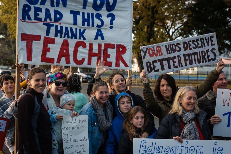 Protesto preliminar e secundário dos professores imagem de stock royalty free