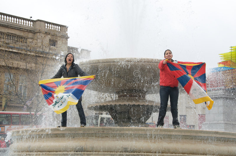 Protesto tibetano das mulheres fotografia de stock royalty free