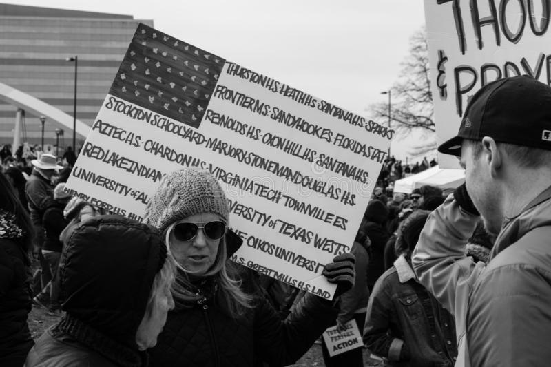 Protestor Against Gun Violence March For Our Lives stock image