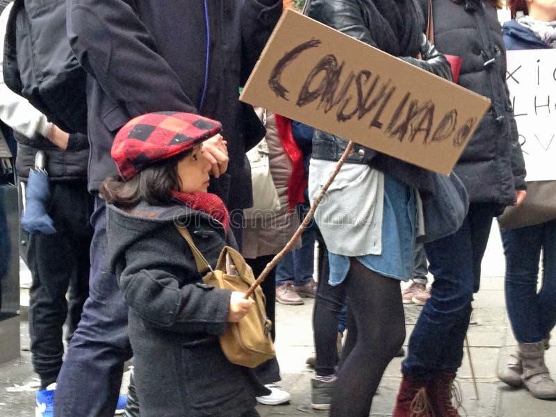 Protestor del niño, Londres imagen de archivo