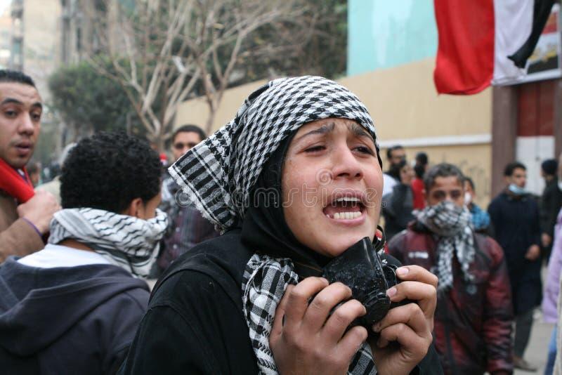 Protestor durante la revolución egipcia fotos de archivo libres de regalías