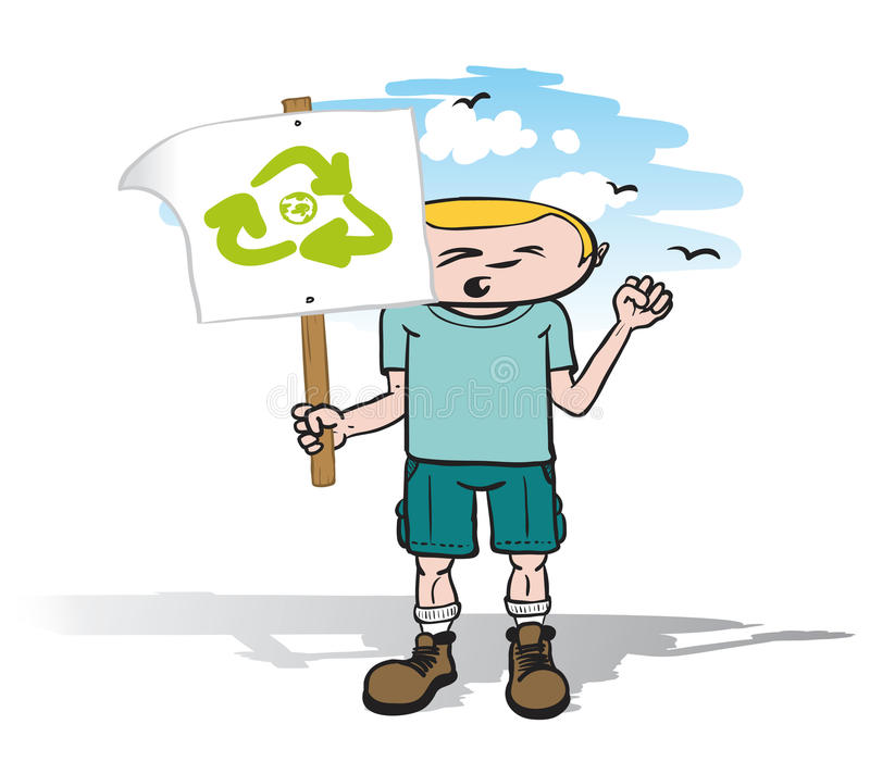 Download Protestor guy with sign stock vector. Illustration of action - 25926338