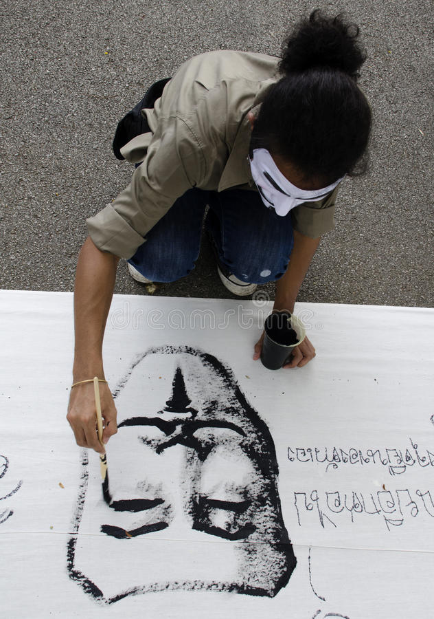 Download Protestor Paonts White Mask On Banner Editorial Photo - Image: 32277351