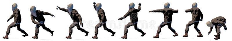 Protestor que lanza una piedra, rebelde, terrorista, violencia armada contra el estado Rebeli?n y alboroto, protesta ideol?gica stock de ilustración