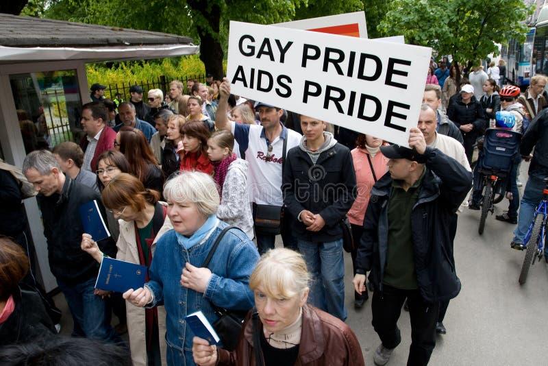 Protestors contra el orgullo 2009 de Riga imágenes de archivo libres de regalías