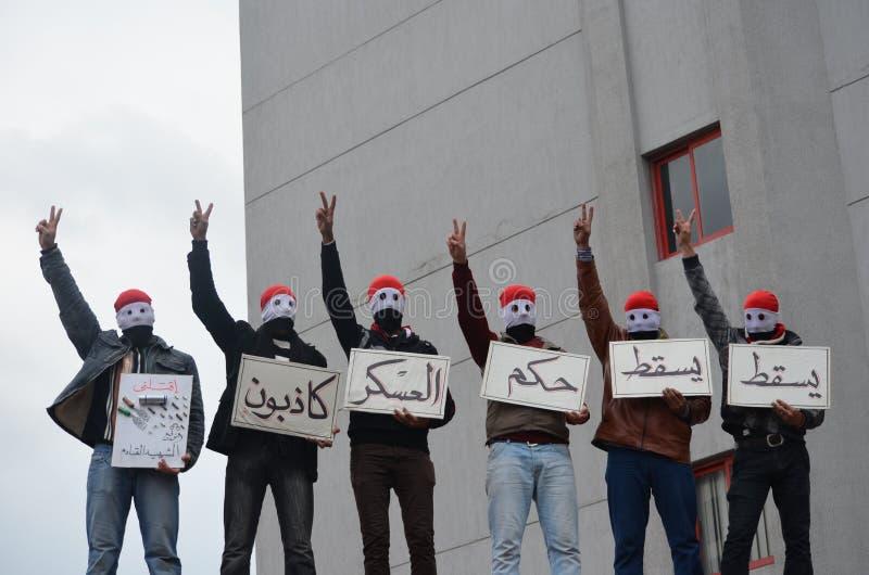 Protestors egipcios contra el SCAF fotografía de archivo libre de regalías