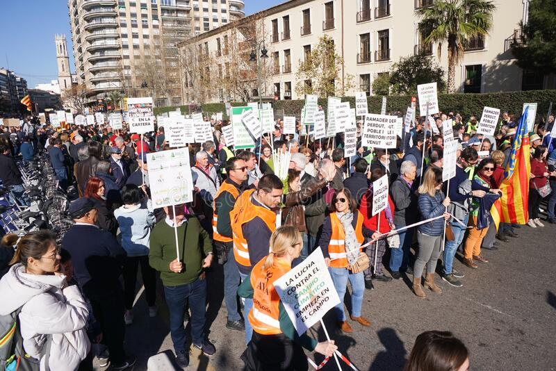 Protestors in Spain stock photo