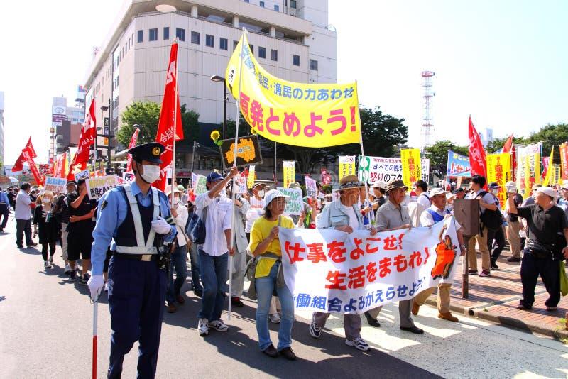 Protestos antinucleares em Japão fotografia de stock