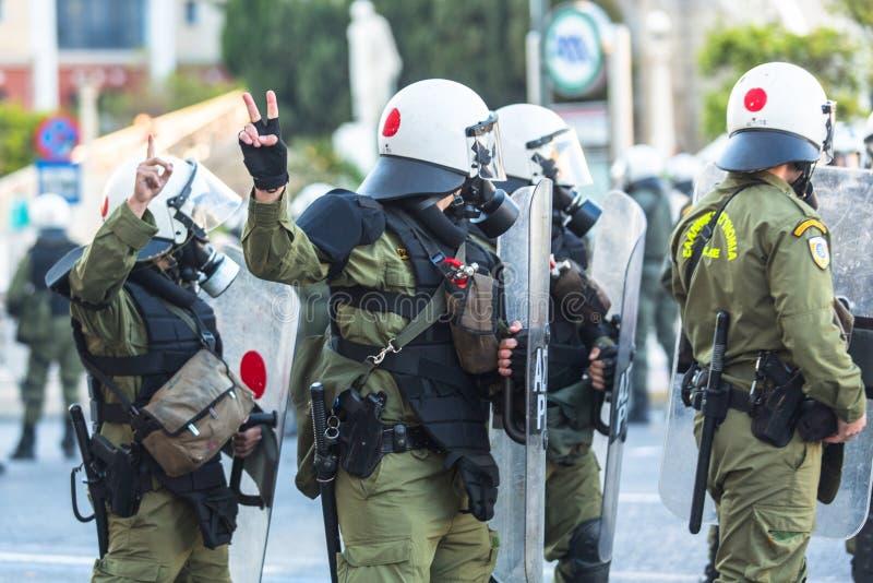 Protestos do anarquista em Atenas, Grécia imagens de stock royalty free
