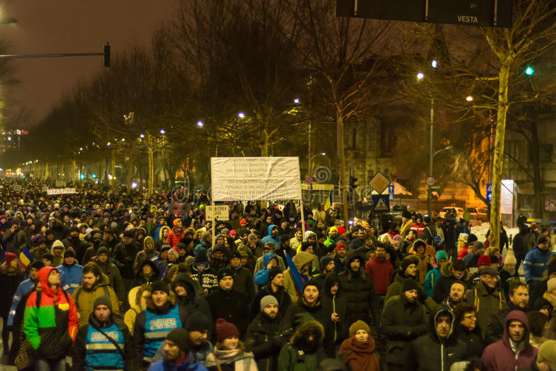 Protestos em Bucareste imagens de stock