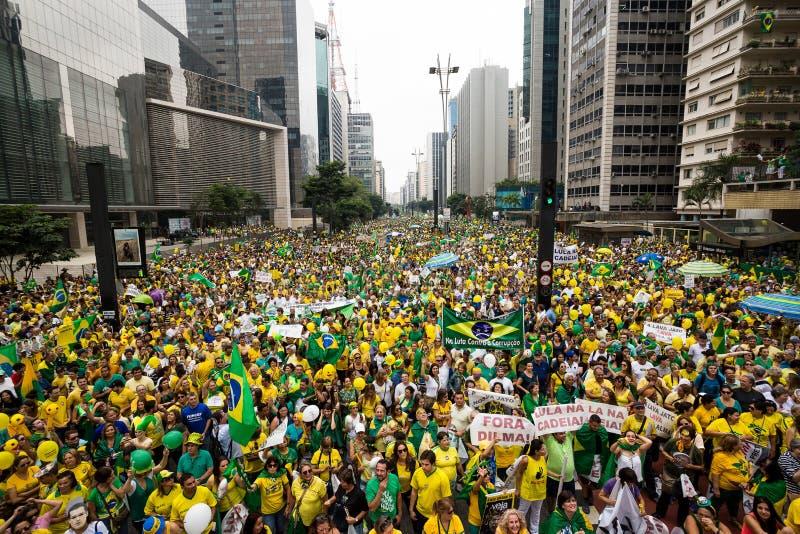 Protestos em Sao Paulo, Brasil imagens de stock royalty free