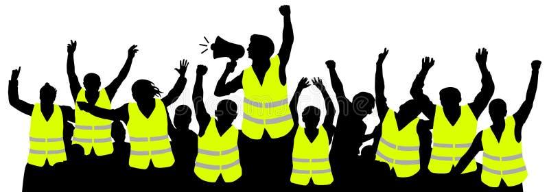 Proteströrelse av gula västar Vektor för folkmassafolkkontur stock illustrationer