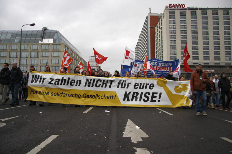 Protests against financial crisis stock image
