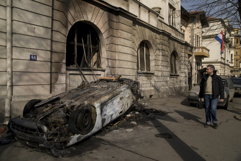 Download After Protests in Belgrade editorial image. Image of attack - 4392080