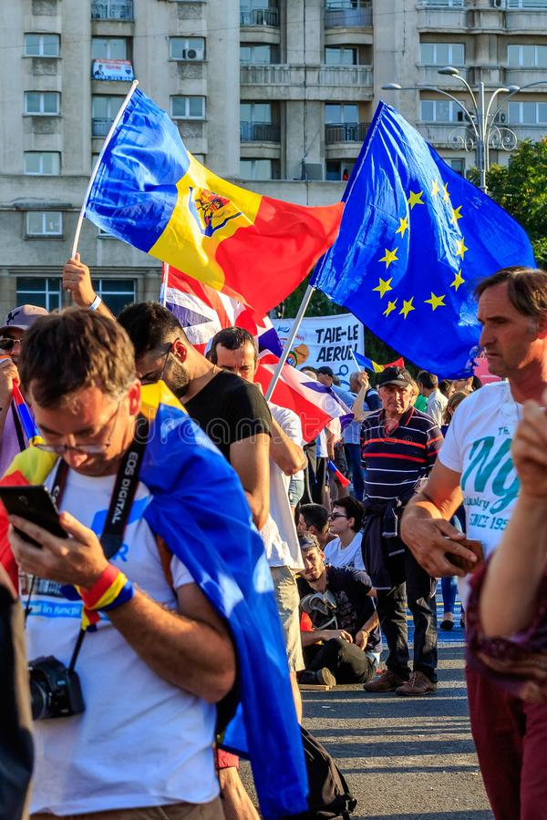 Protests in Bucharest Romania against the corrupt government - August / 11 / 2018. Protests in Bucharest / Romania on August 11 2018 against the corrupt stock photography