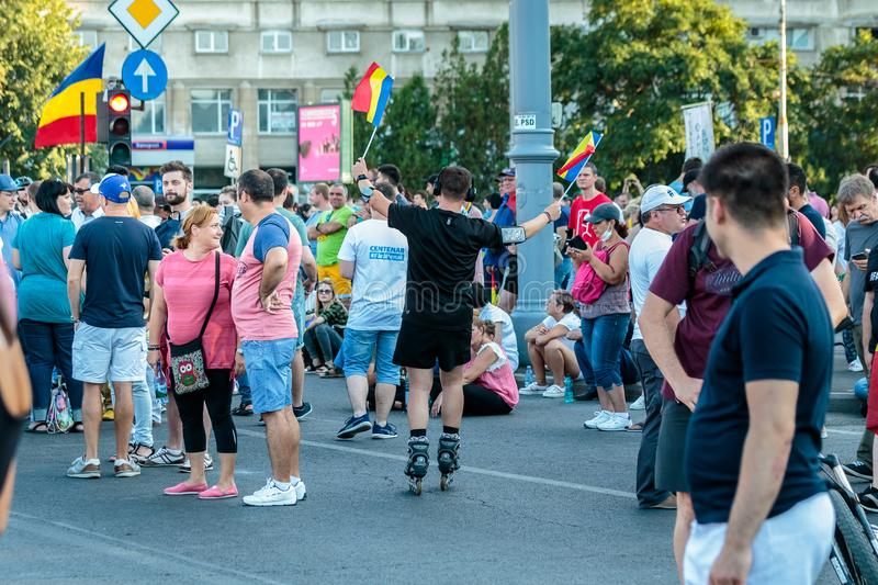Protests in Bucharest Romania against the corrupt government - August / 11 / 2018. Protests in Bucharest / Romania on August 11 2018 against the corrupt stock image