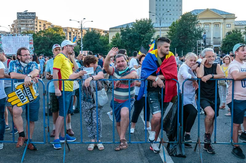 Protests in Bucharest Romania against the corrupt government - August / 11 / 2018. Protests in Bucharest / Romania on August 11 2018 against the corrupt royalty free stock photo